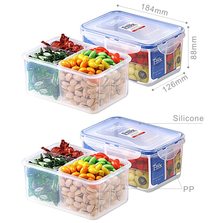 Multi-Compartments Plastic Airtight Food Containers with Lids